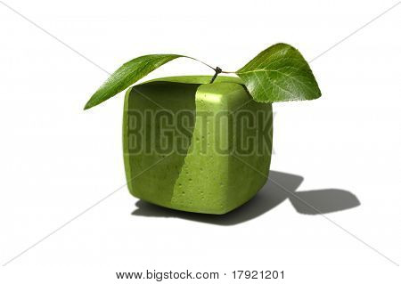 3D rendering of a cubic apple fruit and a half