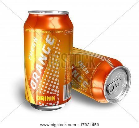 Refrigerante de laranja de bebidas em latas de metais
