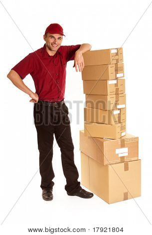 Isolated image of a messenger in red delivering a lot of boxes