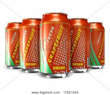 Set of grapefruit soda drinks in metal cans