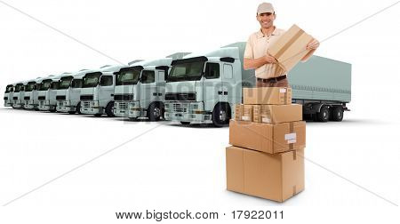 3D rendering of a messenger with eight white trucks parked as background