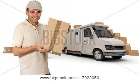 Messenger mit einem Paket in seinen Händen mit einem Lieferwagen und Haufen von Pakete im Hintergrund (ich aus t