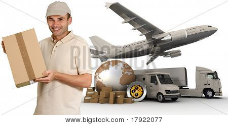 Messenger with a background composed of  a world map, packages, a chronometer vans, trucks, and an airplane
