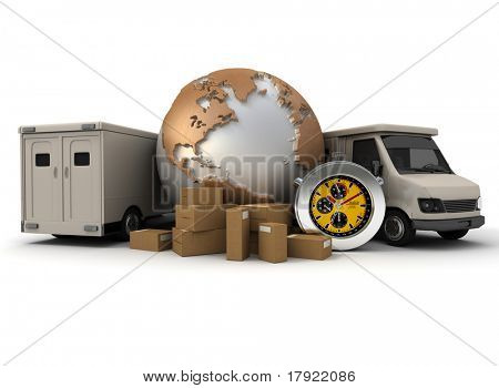 3D rendering of a world map with packages; a chronometer and two delivery vans;