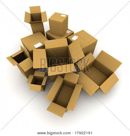 3D rendering of a lot of cardboard boxes, some of them open others closed
