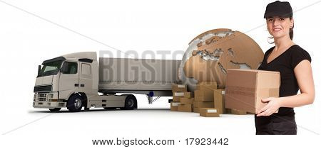 eine weibliche Messenger mit einer Weltkarte, Pakete und einen LKW als Hintergrund