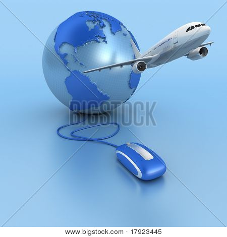 3D rendering of a world map connected to a computer mouse and a plane taking off