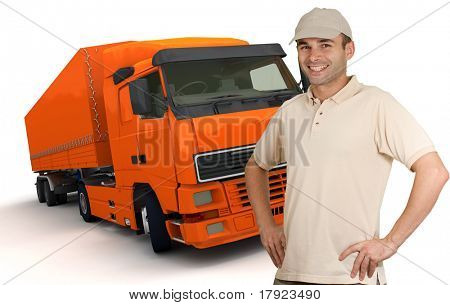 Isolated image of a man in front of an orange trailer truck