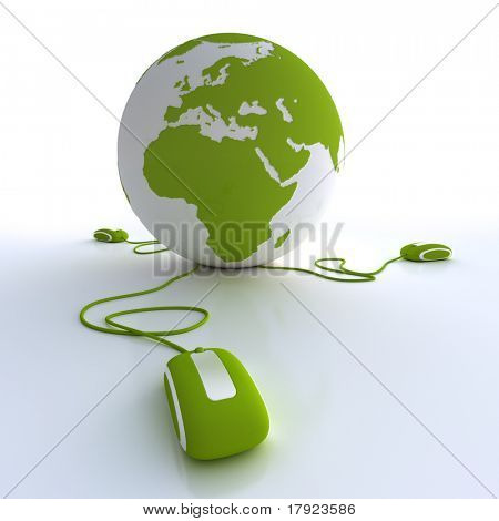 Green and white Earth Globe connected with three computer mice.