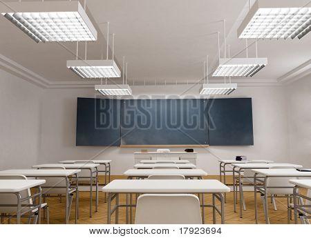 3D rendering of a classical school classroom