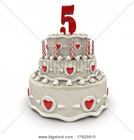3D rendering of a multi-tiered cake with a number five on top