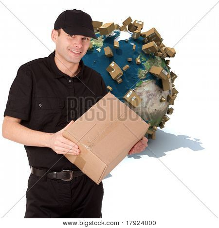 Messenger holding a package with a world map full of cardboard boxes as a background