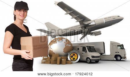 A female messenger holding a package with a world map, packages, a chronometer,  a van, a truck and an airplane as background