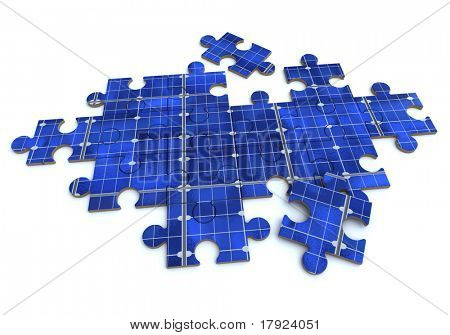 3D rendering of a forming puzzle with a solar panel texture