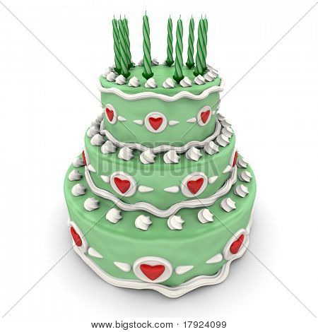 3D rendering of  a impressive green three floor cake with red hearts and candles