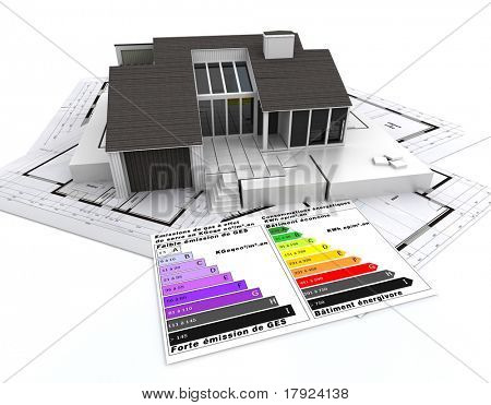 3D rendering of a house, on top of blueprints, with and energy efficiency rating chart