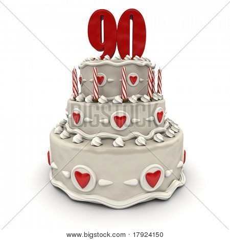 3D rendering of a multi-tiered cake with a number Ninety on top
