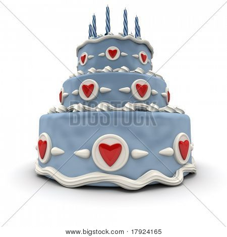 3D rendering of a Blue three tiered cake with red hearts and candles