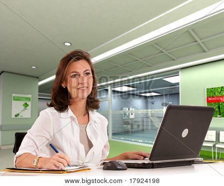 Female hospital administrative in a modern medical center