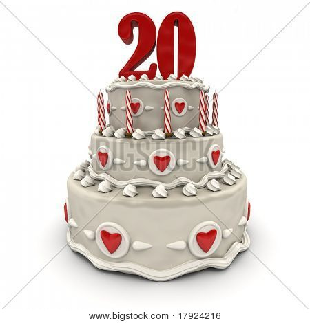 3D rendering of a multi-tiered cake with a number twenty on top