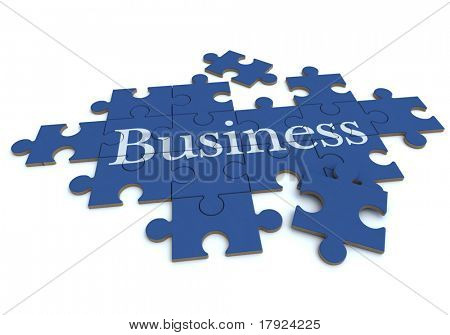 3D rendering of a forming puzzle with the word Business