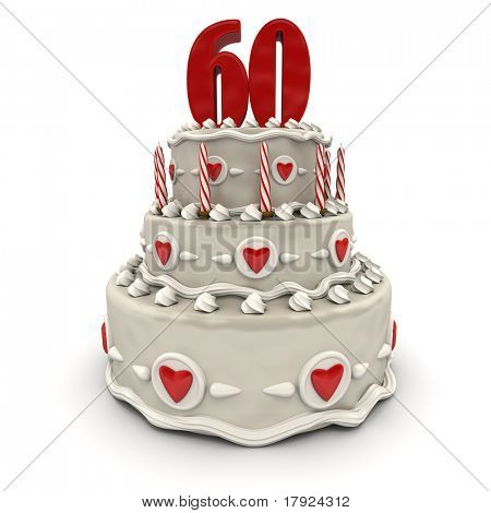 3D rendering of a multi-tiered cake with a number sixty on top