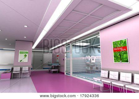 Representación 3D de una clínica de lujo moderna en tonos púrpuras