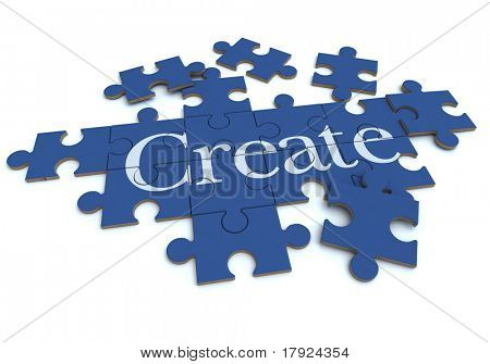 3D rendering of a forming puzzle with the word Create