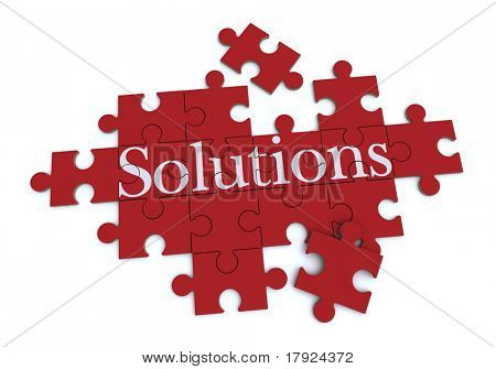3D rendering of a forming puzzle with the word Solutions