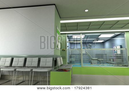 3D rendering of a clinics waiting room with an operating room in the background