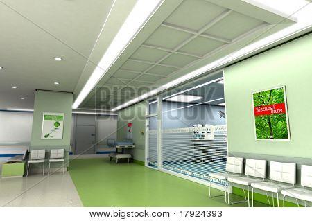 Representación 3D de una exclusiva clínica moderna