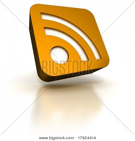 3D rendering of an orange icon with the RSS symbol