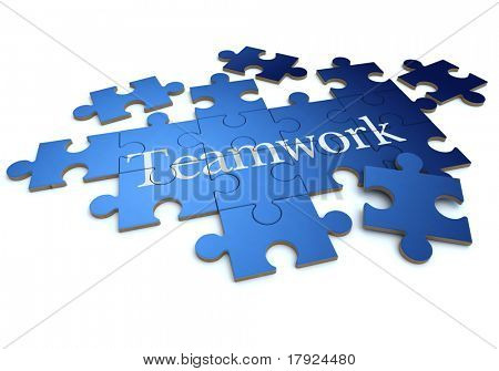 3D rendering of a forming puzzle with the word teamwork