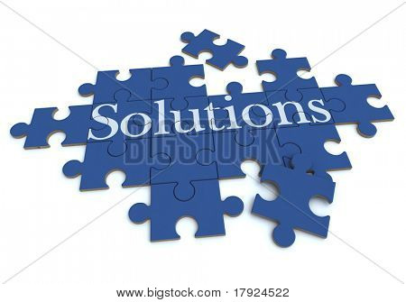 Representación 3D de un rompecabezas que forma con la palabra soluciones