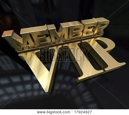 3D rendering of the words member Vip in gold on a black background