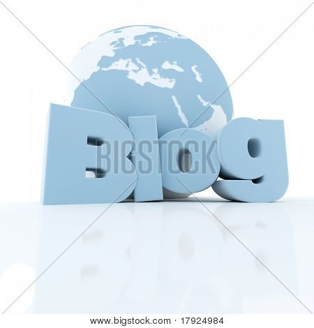 3D-rendering of a world globe and the word blog in blue and white