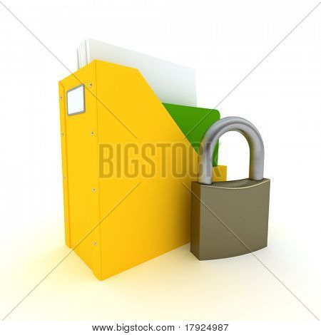 3D rendering of a folder with documents and an open padlock