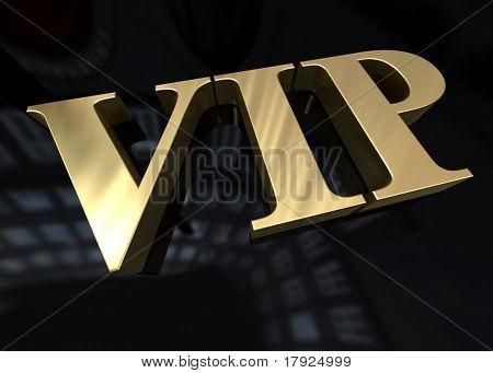 3D rendering of the word Vip in gold on a black background
