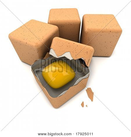 3D rendering of cubic shaped eggs and a broken one