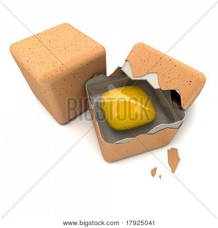 3D rendering of a pair of cubic shaped eggs with a broken one