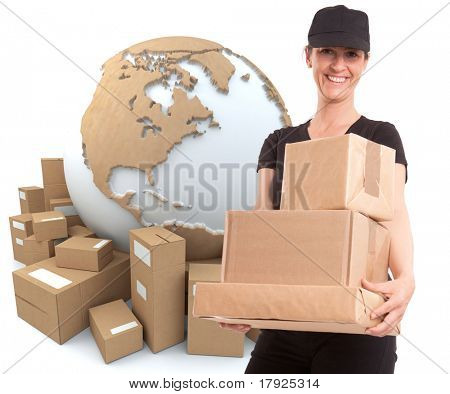 Portrait of a delivery girl in black carrying a parcel with the world surrounded by packages in the background