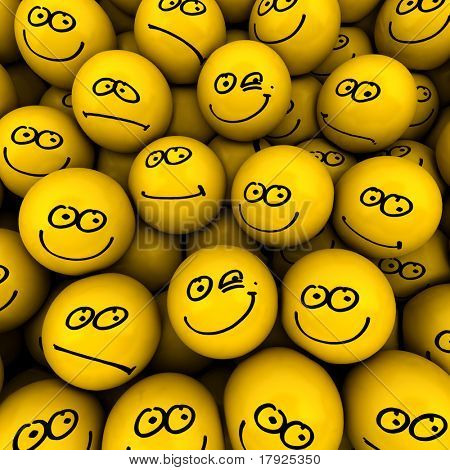 Yellow icons with different facial expressions