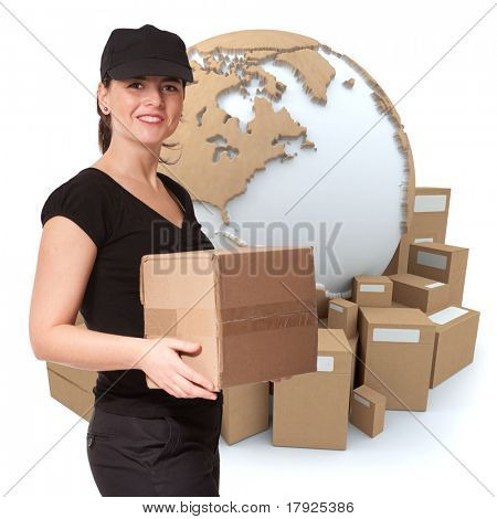 Isolated image of a female messenger delivering a parcel with a world map, and packages as background