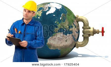 Image of a Plumber with the Earth with a stopcock attached to it