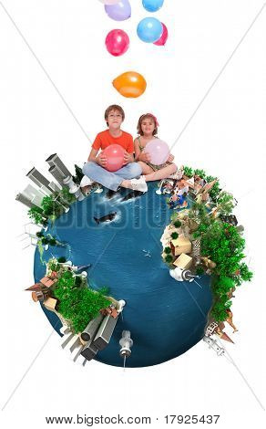 Kids sitting on top of a happy Earth throwing balloons