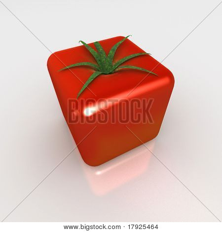 3D rendering of a cubic tomato on a white background