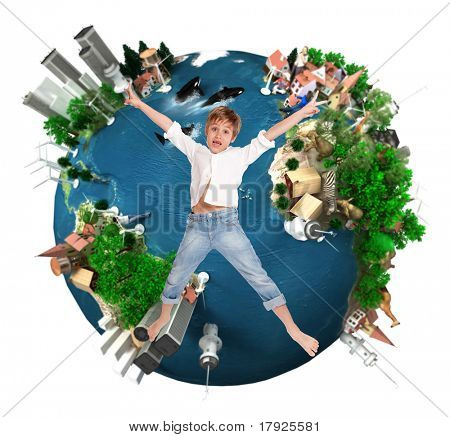 Young boy flying over an environment oriented design of the Earth