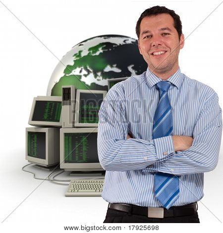 Professional man with a world map and piles of computers