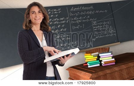 Cheerful female teacher holding a book in a maths classroom