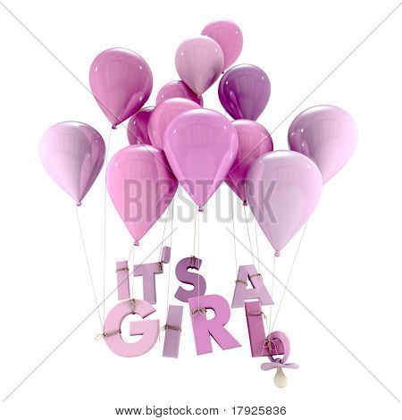 3D rendering of blue balloons with it?s a girl hanging from the strings and a pacifier